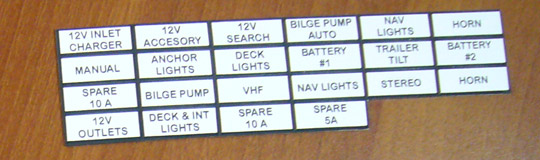 Instrument Panel Labels